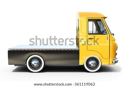 3d yellow vintage truck  platform on white background - stock photo
