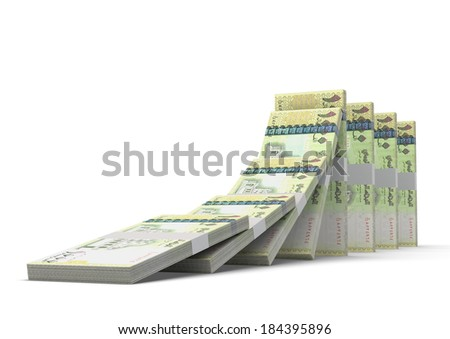 3D yemeni money dominoes stacked falling and collapsing  isolated on white background