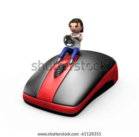 3d Young Male Driving a PC Mouse like a Car - stock photo