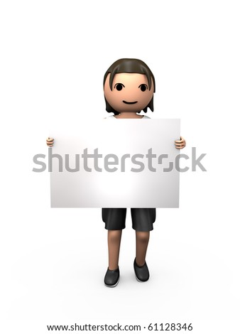 3D Young Male Holding Large Blank Business Card - stock photo