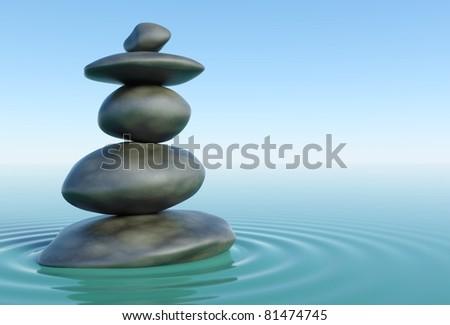 3d Zen stones in a zen water - stock photo