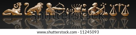 3D Zodiac signs, gold metal on black background - stock photo