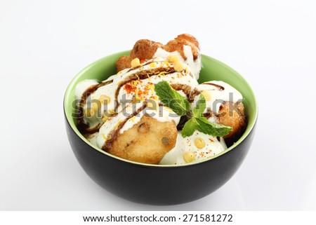 dahi vada,South Indian dish Curd vadai - stock photo