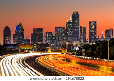 Dallas skyline at sunrise - stock photo