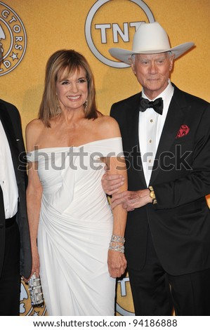 """Dallas"" stars Larry Hagman & Linda Grey at the 17th Annual Screen Actors Guild Awards at the Shrine Auditorium, Los Angeles. January 29, 2012  Los Angeles, CA Picture: Paul Smith / Featureflash"