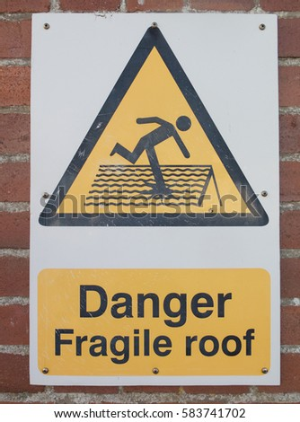 Danger Fragile Roof Vector Danger Fragile Roof Sign Safety