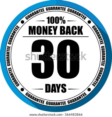 30 days Money back guarantee blue, Button, label and sign. - stock photo