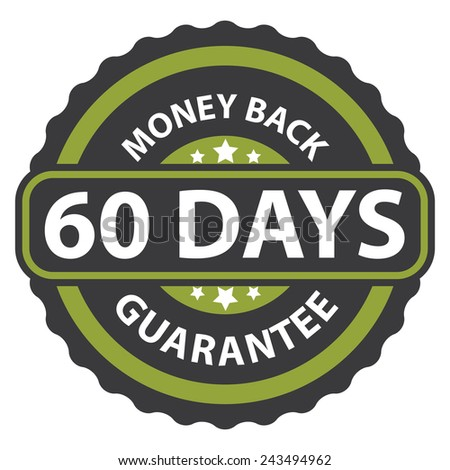 60 days money back guarantee on green vintage, retro sticker, badge, icon, stamp isolated on white  - stock photo