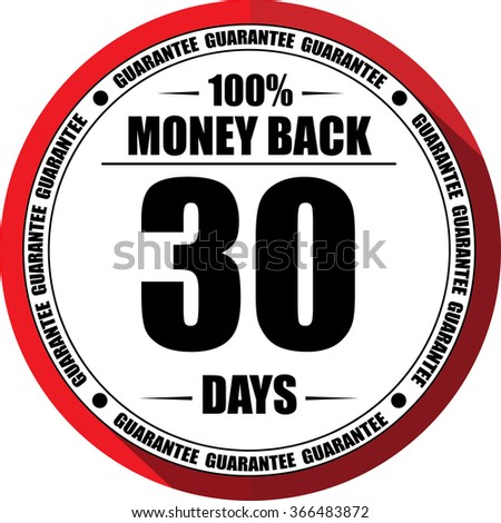 30 days Money back guarantee red, Button, label and sign. - stock photo