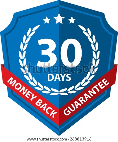 60 Days Money Back Guaranteed Label And Sticker With Blue Badge Sign, Isolated on White Background. - stock photo