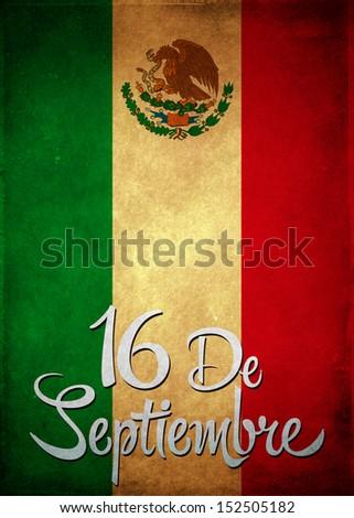 16 de Septiembre, dia de independencia de Mexico - September 16 Mexican independence day spanish text card - poster - copyspace - stock photo