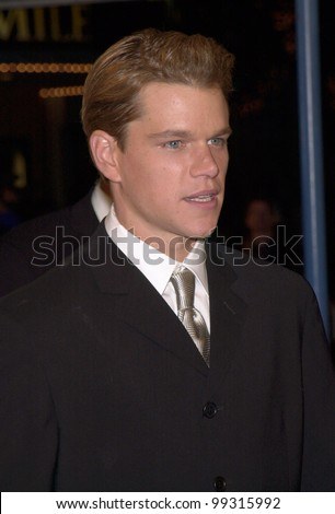 "12DEC99: Actor MATT DAMON at the Los Angeles premiere of his new movie ""The Talented Mr. Ripley.""  Paul Smith / Featureflash - stock photo"