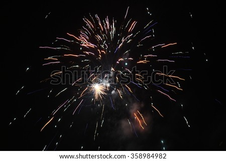 2016 (31 December 2015 at midnight) new year fireworks show in Bregenz, Vorarlberg, Austria.