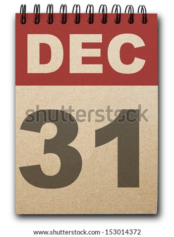 31  December calendar on recycle paper - stock photo