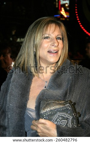 16 December 2004 - Hollywood, California - Barbra Streisand. The premiere of 'Meet The Fockers' at the Universal Amphitheatre Universal Studios in Hollywood. - stock photo
