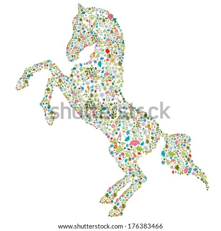 decorative horse with floral elements composition