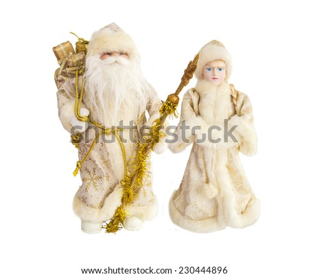Ded Moroz (Father Frost) and Snegurochka (Snow Maiden). Isolated. Santa Claus - stock photo