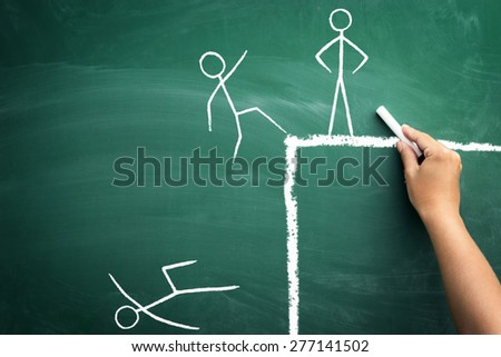 defeat the competition metaphor for innovative corporate strategy and planning to win, funny business sketch on green blackboard - stock photo