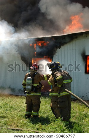 """""""Defensive Fire Operations"""" Douglas County Fire District #2 Burn to Learn, Hwy 99S, near Roseburg OR - stock photo"""