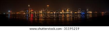 180 degree full view of the Bund, Shanghai - stock photo