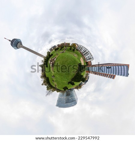 360 degree little planet panorama of Dusseldorf, Germany - stock photo