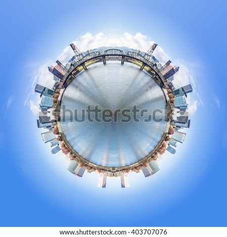360 degree of cityscape and skyline in portland - stock photo
