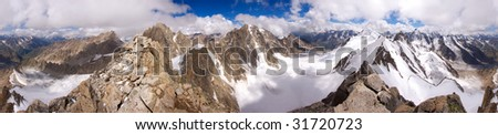 360 degree panorama of the Caucasian mountains from top Kichkidar, Russia - stock photo