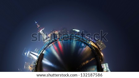 360-degree panorama of the round of the Shanghai skyline - stock photo