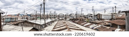 180 degree panorama of the slums of Kibera, Kenya - stock photo