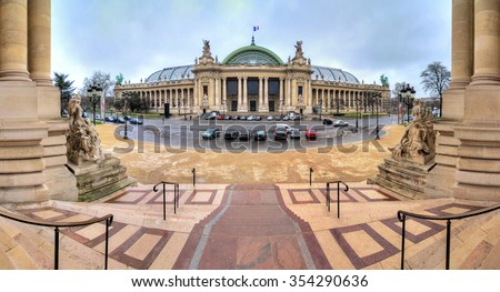 180 degree panoramic view of the Grand Palais in Paris, seen from the Petit Palais - stock photo