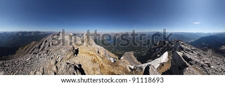 360 degree view of Cascade Mountain Summit, near Banff, Banff National Park, Alberta, Canada. - stock photo