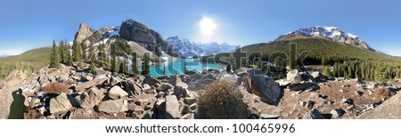 360 degree View of Moraine Lake and the surrounding mountains, Tower of Babel (l), Mount Temple (r), near Lake Louise, Banff National Park, Alberta, Canada - stock photo