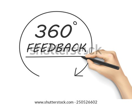 360 degrees feedback drawn by hand isolated on white background - stock photo