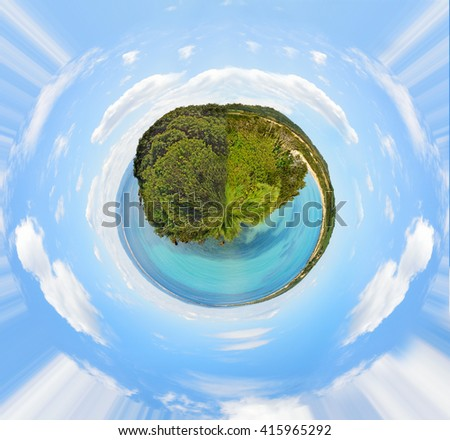 360 degrees panorama of a clear sky over Lazzaretto beach in Sardinia, Italy