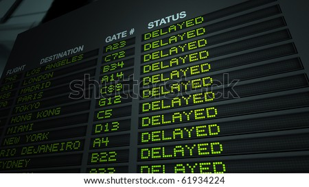 'Delayed' version of flight information board - stock photo