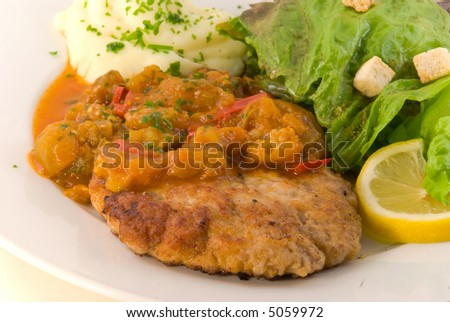 Delicious Hamburger with Vegetable(Zucchini,Eggplant,onion)