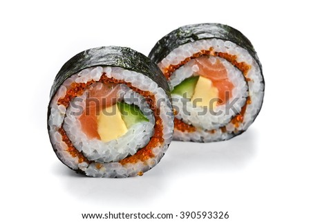 Delicious japanese  sushi rolls with  salmon and red caviar isolated on white. Futomaki rolls  - stock photo