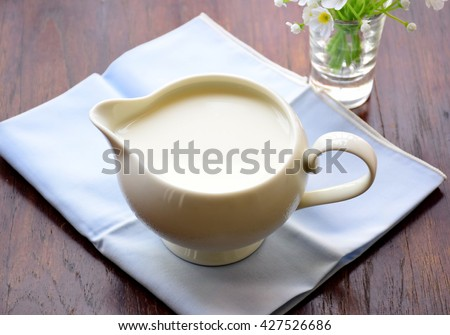 Delicious, nutritious and fresh milk in jar.  - stock photo