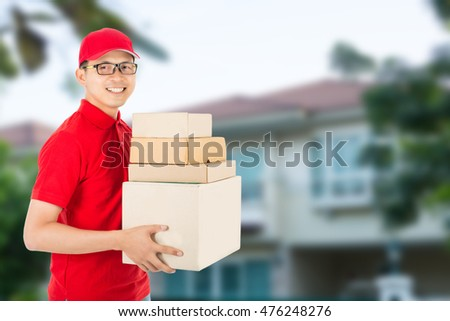 Delivery man service delivery packaging box to customer receiving package.