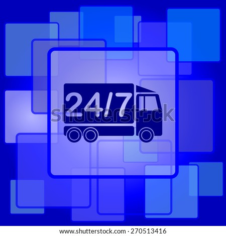 24 7 delivery truck icon. Internet button on abstract background.  - stock photo