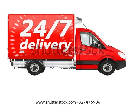 24 7 delivery. Van on the white background. Raster illustration. - stock photo