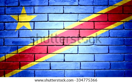 Democratic Republic of the Congo Flag on a brick wall background - stock photo