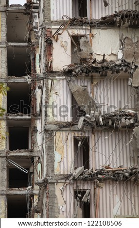 demolition of old buildings for new construction - stock photo