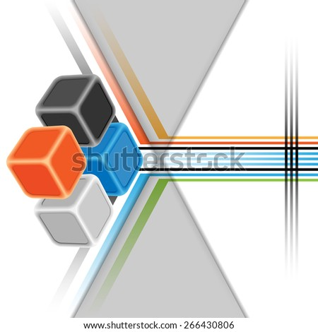 Design template for abstract background; Colorful three dimensions cubes. Abstract diagonal lines, in geometric arrangement as background.  - stock photo