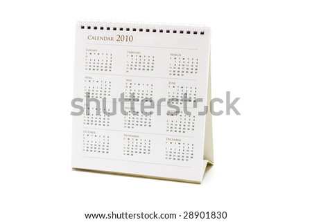 2010 desktop calendar on white background