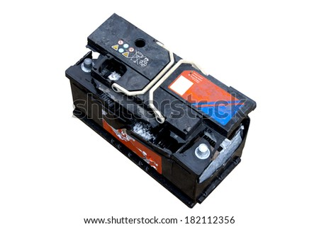 Destroyed vehicle battery after overcharging resulting in internal explosion - stock photo