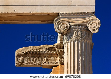 """Detail"" from the Erechteion, Acropolis, Athens, Greece. A column capital of the Ionic order. - stock photo"