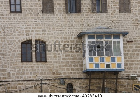 Details of the house in old Jaffa - stock photo