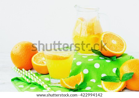 detox , healthy and refreshing drink, juice or lemonade, Nutritious cold sparkling water with fresh green mint and orange in the jar on a wooden background