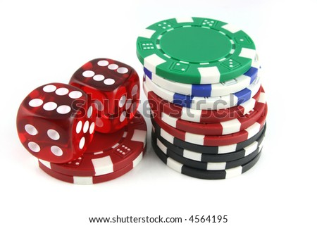 2 Dice close up with gambling chips